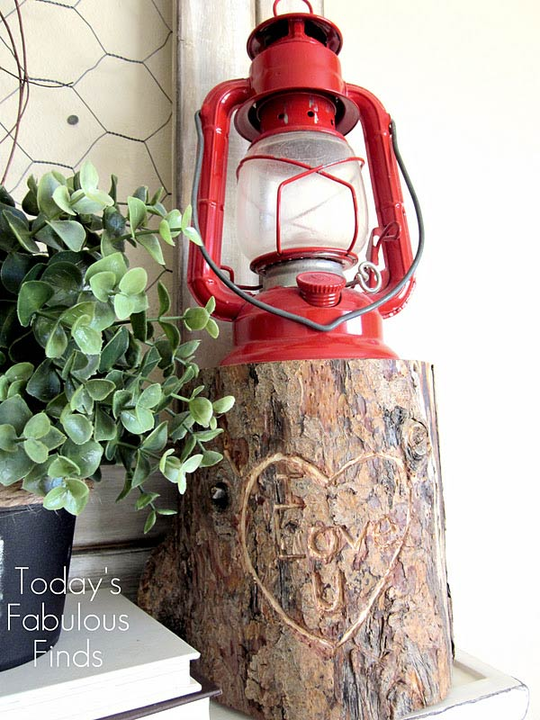 rustic valentine log decor