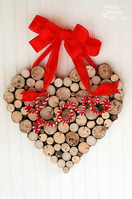 rustic valentine wood heart wreath decor