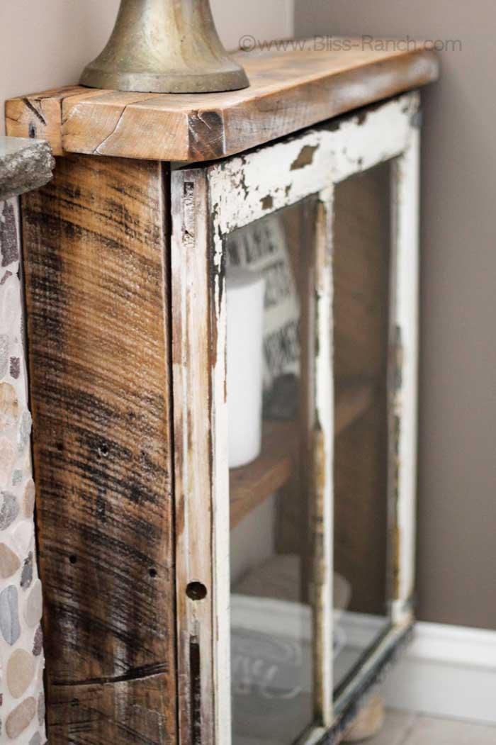 rustic window cabinet