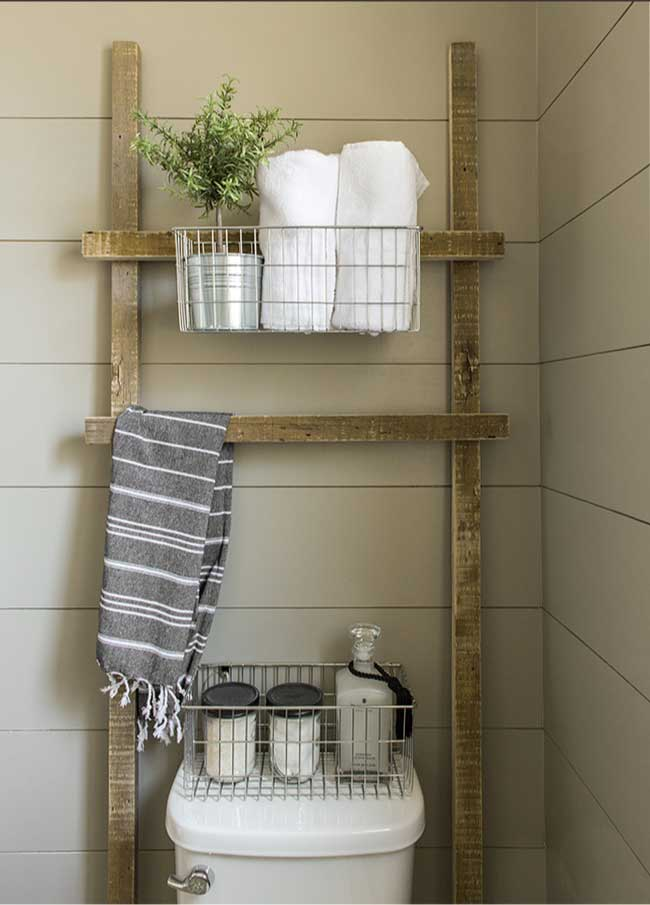 diy rustic wood storage ladder