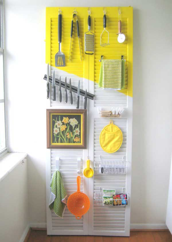 old shutter kitchen organizer