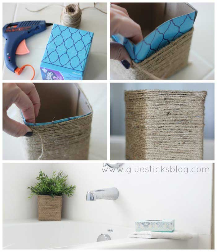 tissue box crafts- twine wrapped planter