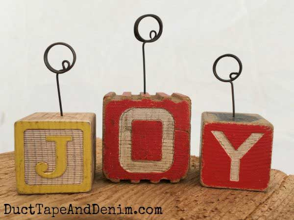 wooden block photo holder