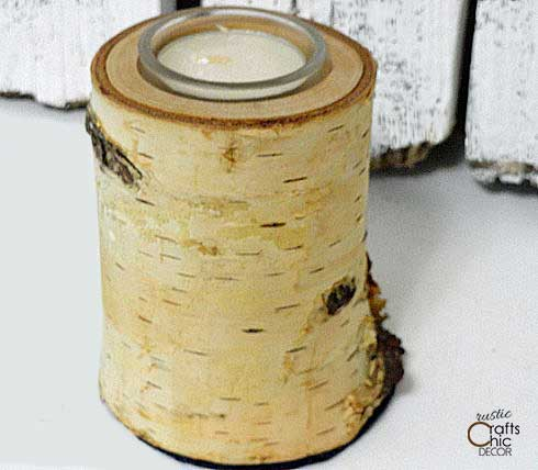 birch log candle holder