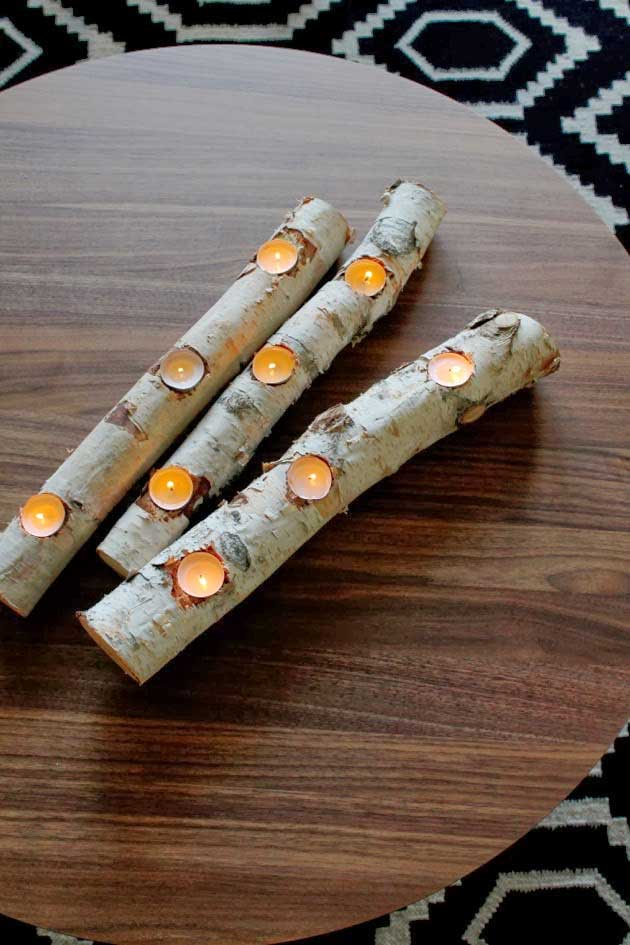 birch log tea light row