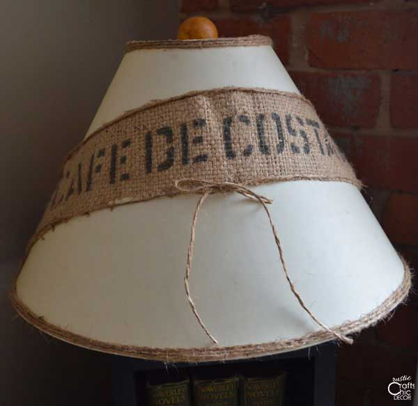 lampshade decorated with burlap