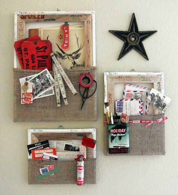 diy burlap wall pockets