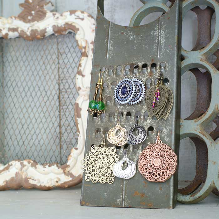 cheese grater diy jewelry holder