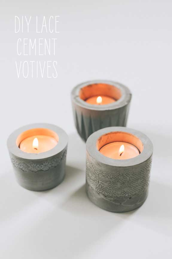 rustic concrete candle holder