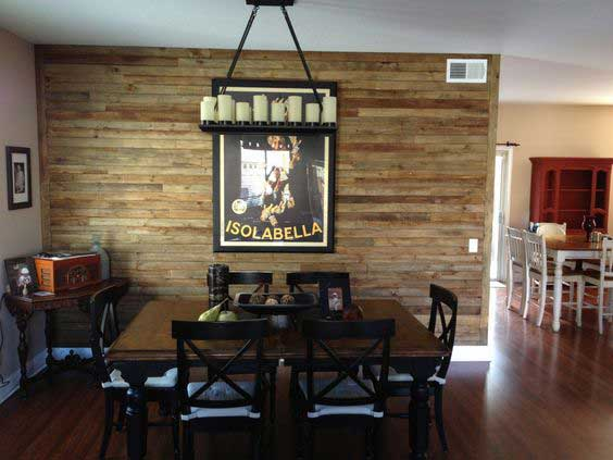 dining area pallet wall