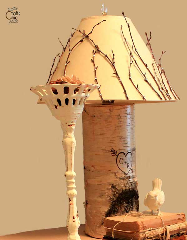 diy birch wood burned lamp