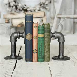 rustic industrial bookends