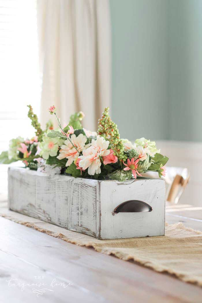 farmhouse wooden box centerpiece