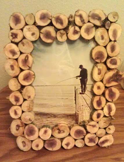 rustic wood slice picture frame