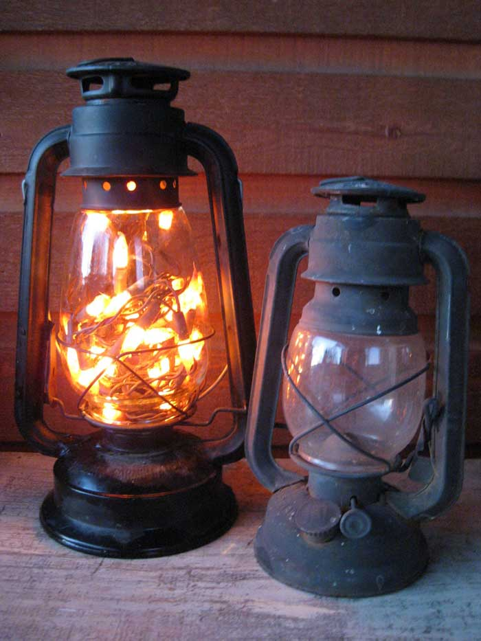 vintage lantern filled with lights