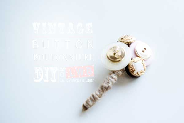 diy vintage button boutonniere