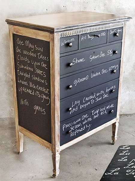 chalkboard painted dresser idea