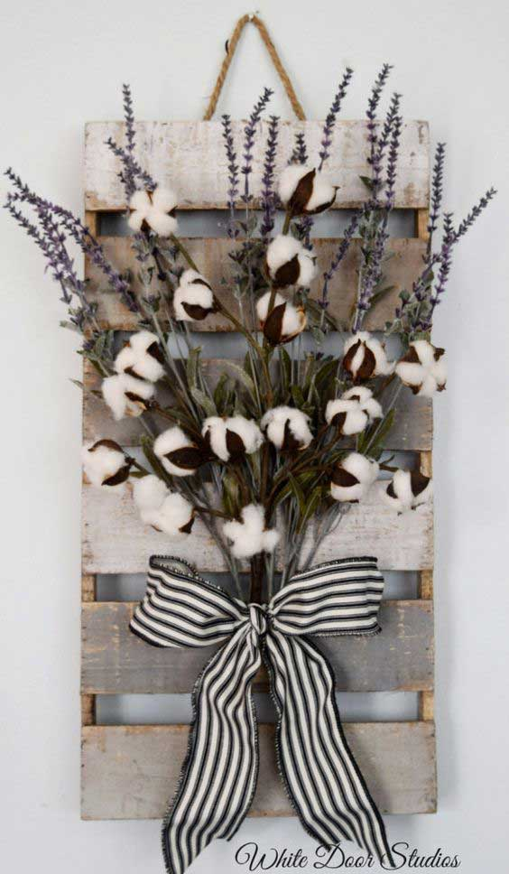 farmhouse cotton stem display