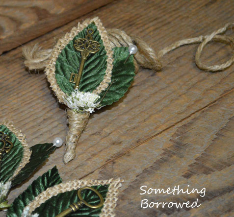 vintage key and burlap diy boutonniere