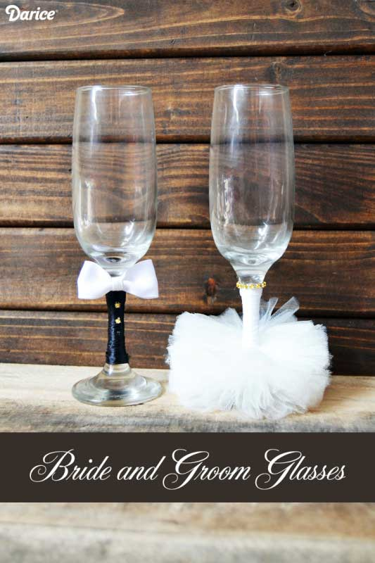 diy bride and groom glasses