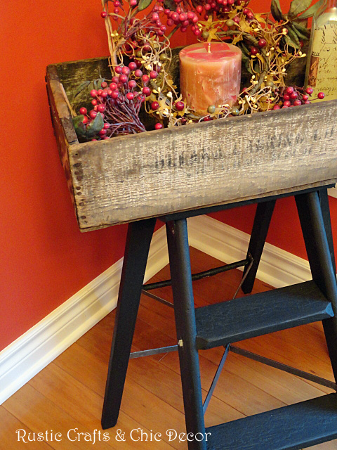 rustic side table made from a crate
