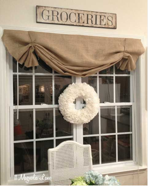 diy farmhouse decor - burlap valances