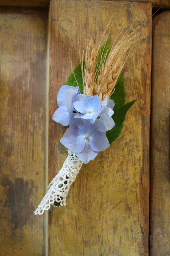 diy hydrangea and wheat boutonniere