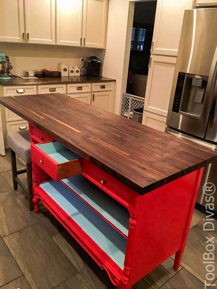 diy kitchen island from a dresser