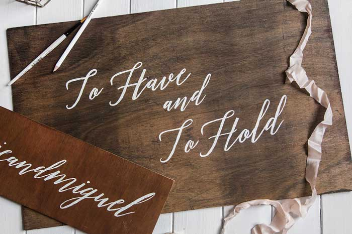 diy painted wedding sign