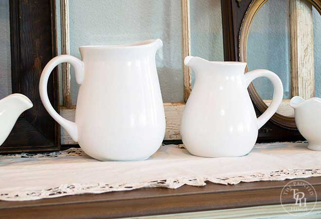 white farmhouse style pitchers