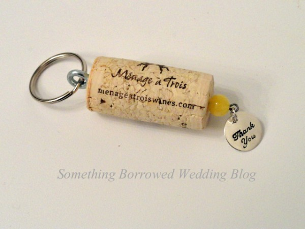 diy wine cork keychain wedding favor