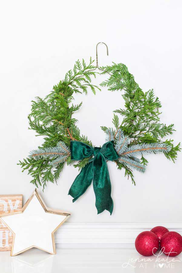 wire hanger christmas wreath diy