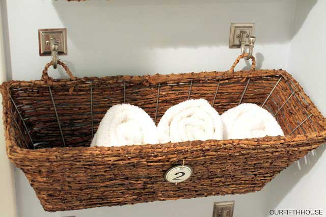 diy bathroom hanging basket organizer