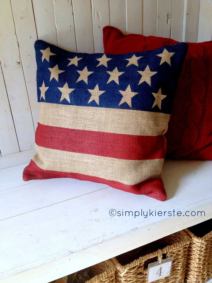 burlap flag pillow craft