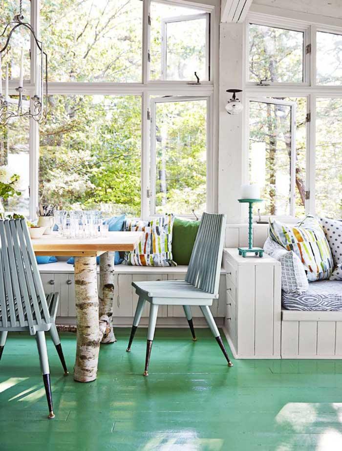 cheerful cabin dining interior