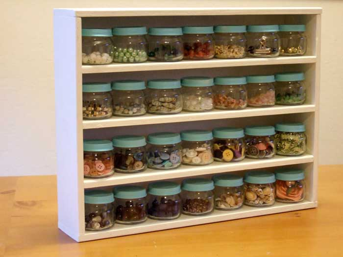 craft room jar storage rack