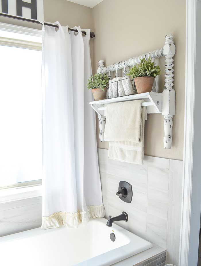 diy bed frame towel holder
