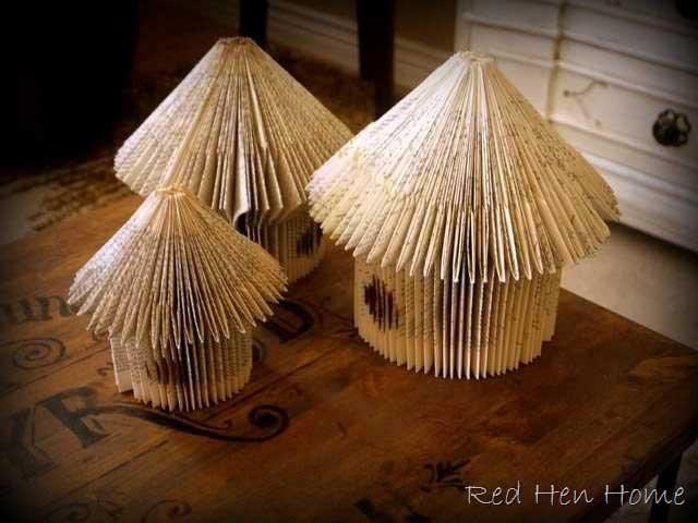 diy bookpage birdhouse