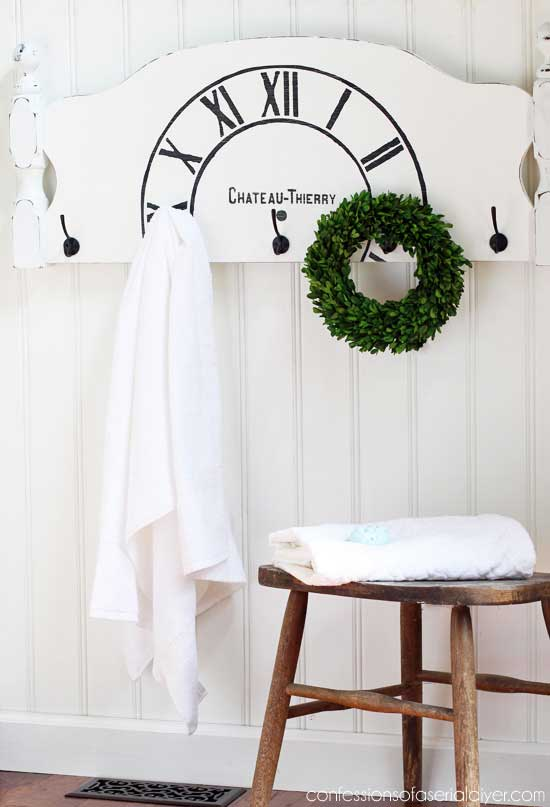 diy headboard bathroom towel decor