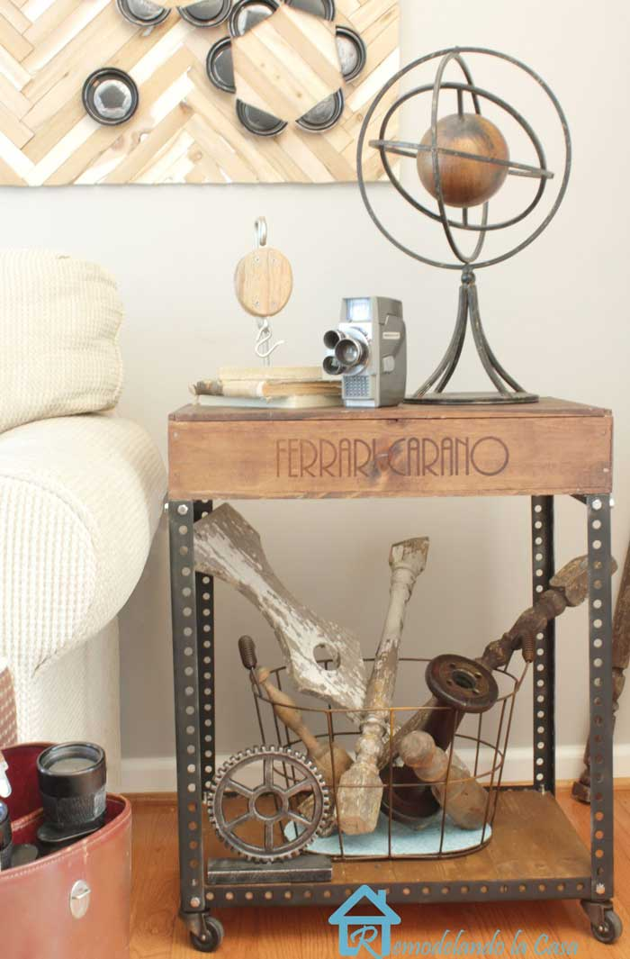 industrial crate side table