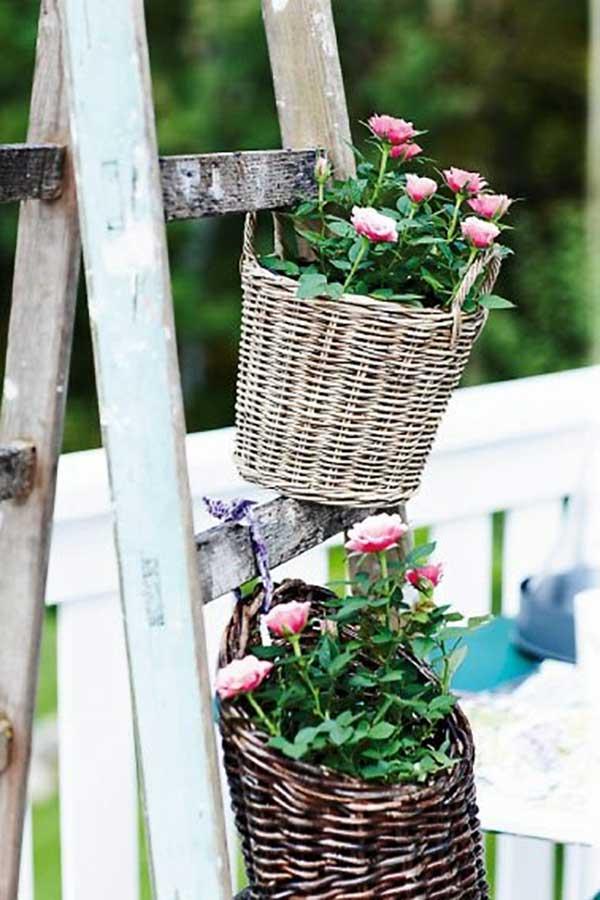 ladder flower basket holder