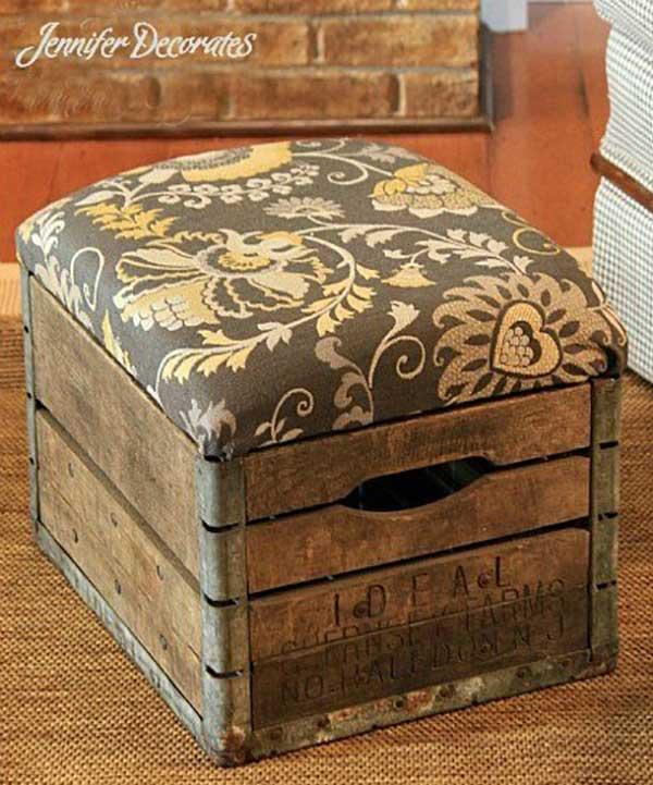 milk crate ottoman diy