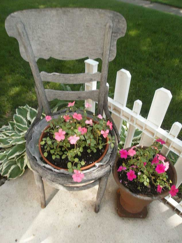 rustic outdoor decor old chair planter