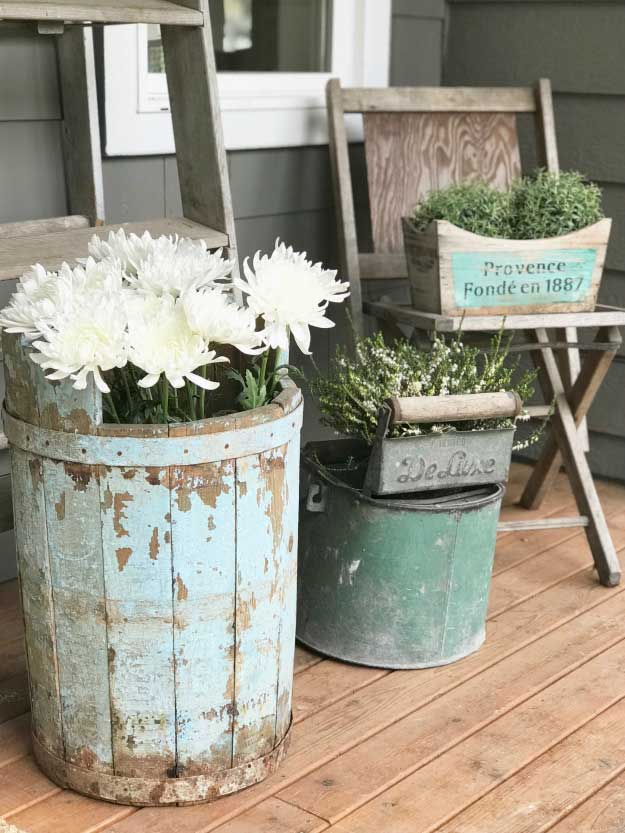 outdoor rustic vintage flower pots