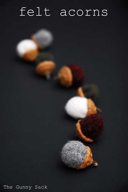 recycled wool sweater felted acorns