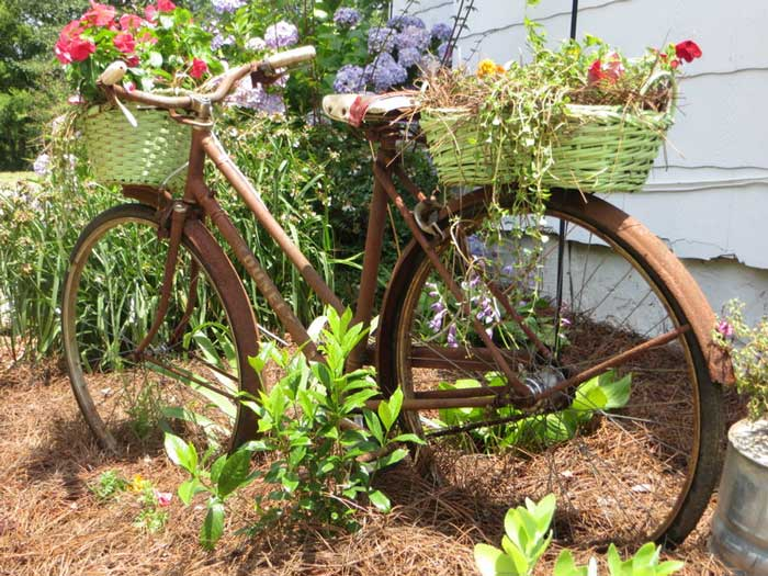 rusty bike outdoor planter