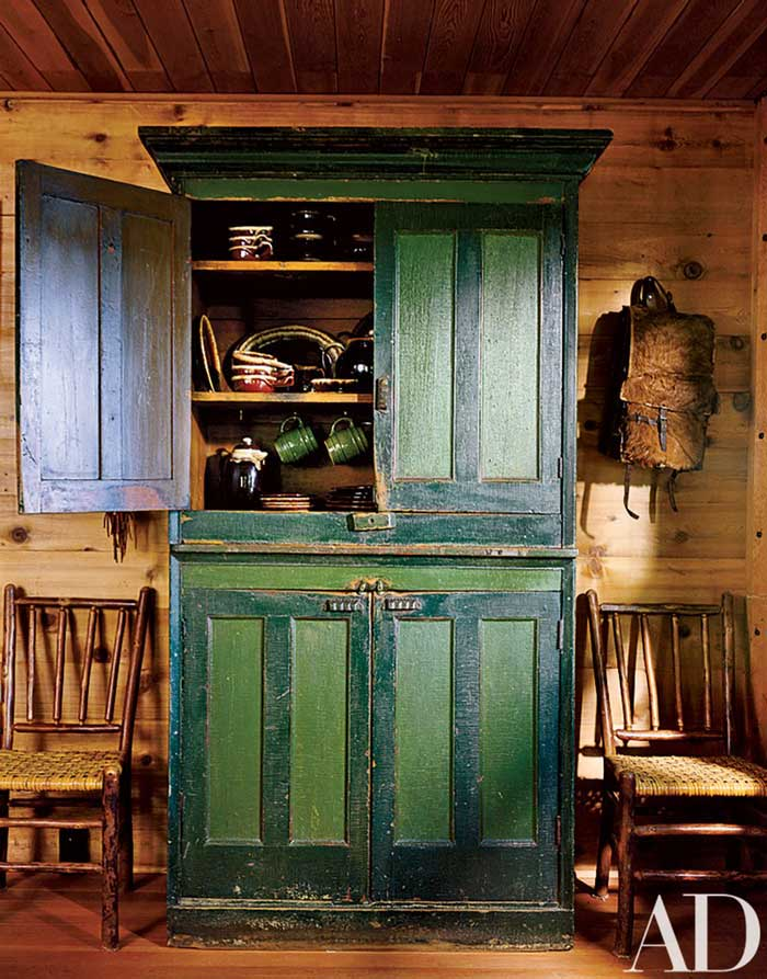 vintage armoire for cabin storage