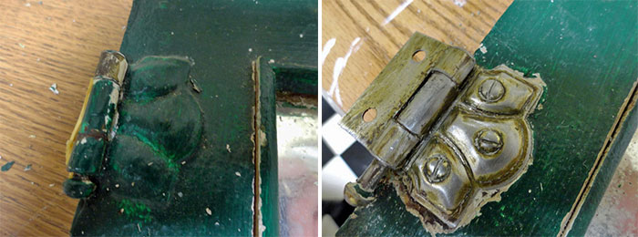 before and after of sanded hinge