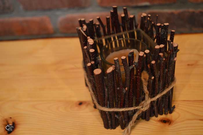 birch stick candle holder
