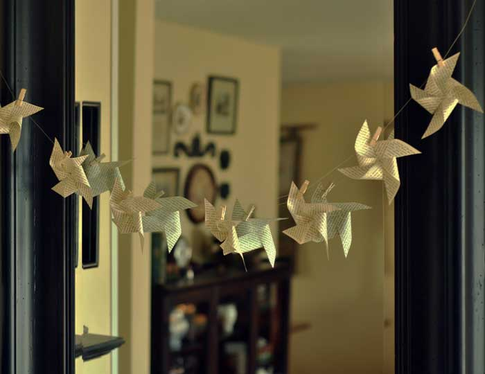 book page pinwheel garland diy